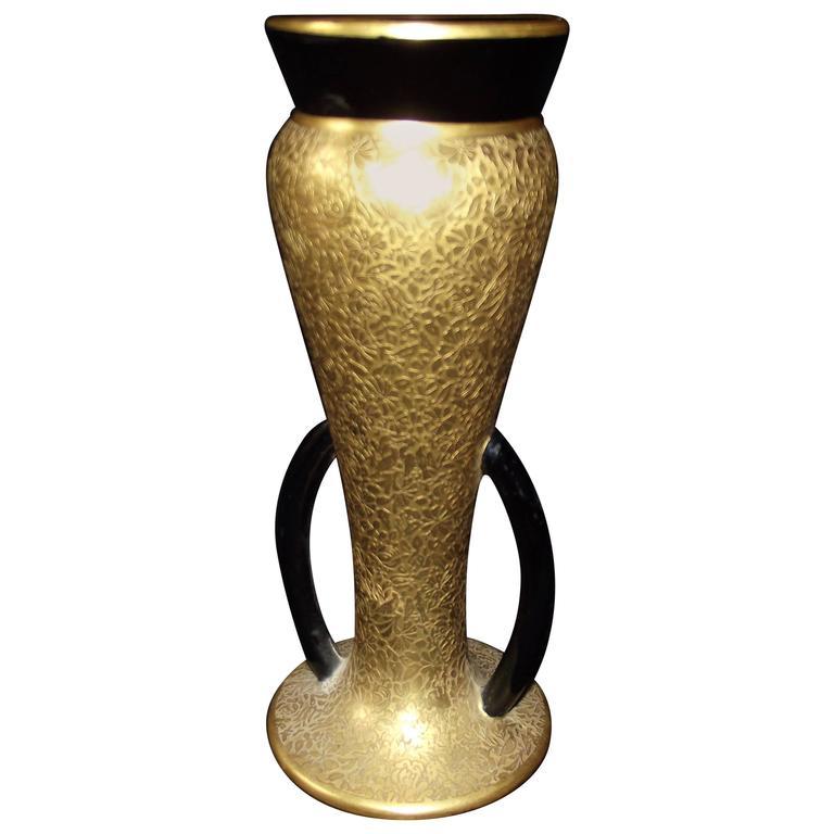 1940s Art Deco 24-Karat Encrusted Porcelain Vase For Sale