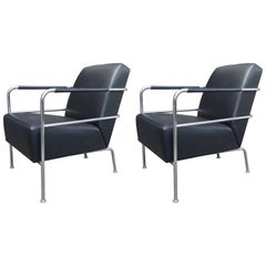 Leather and Chrome Cinema Chairs by Gunilla Allard