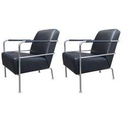Leather and Chrome Cinema Chairs by Gunilla Allard