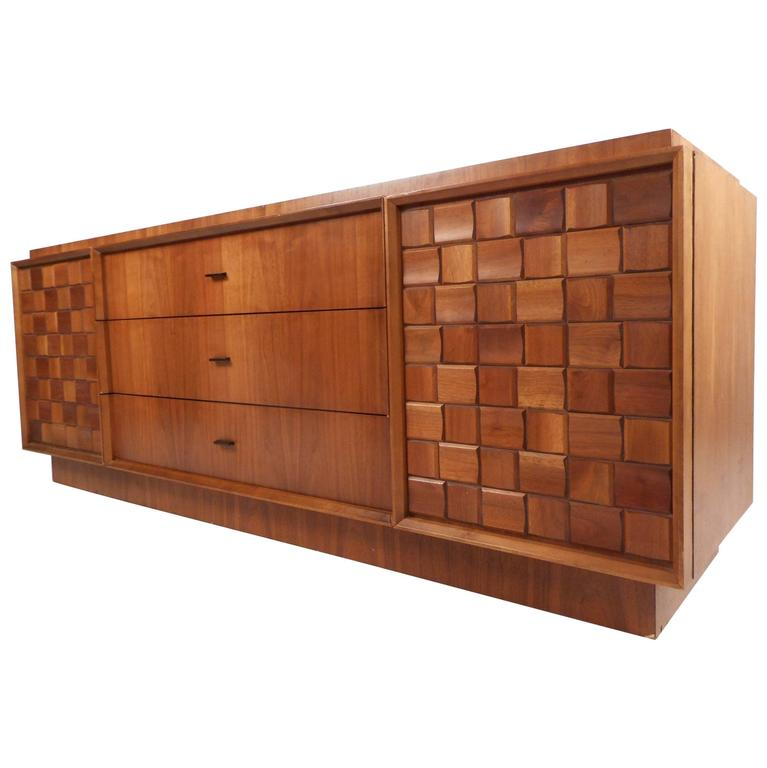 Beau Mid Century Brutalist Style Nine Drawer Dresser For Sale