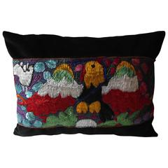 Throw Pillow with Antique Peruvian Ceremonial Mantle, Bolster or Lumbar