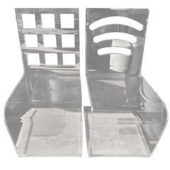 Thick Lucite Zig-Zag Vanity or Desk Chairs