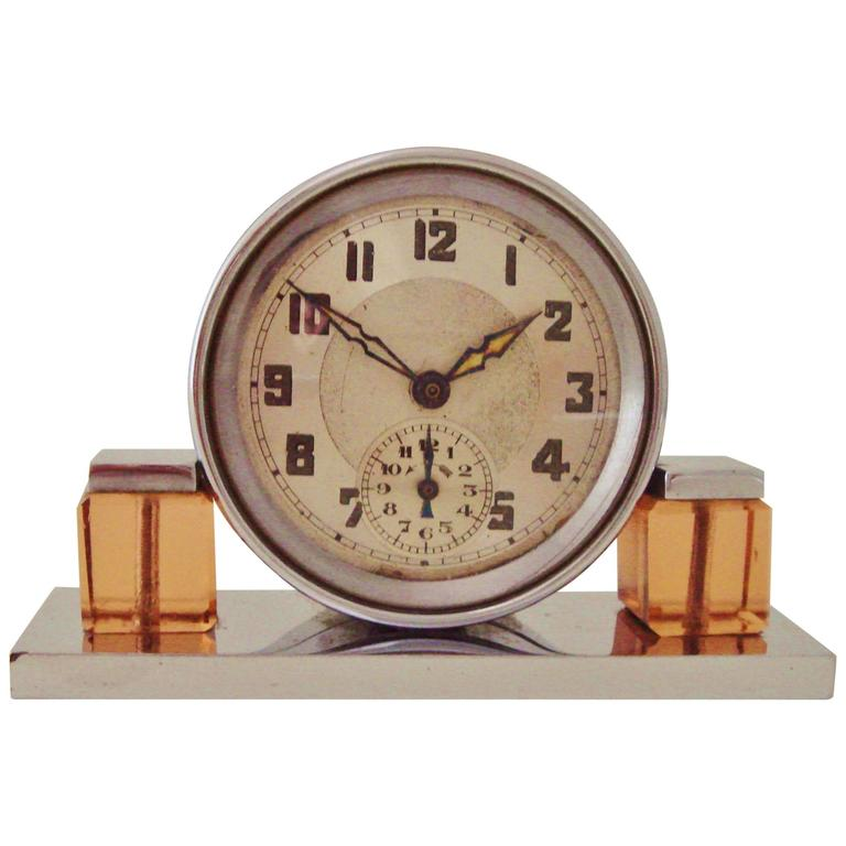 Petite French Art Deco Chrome and Peach Glass Mechanical Alarm Clock