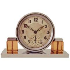 Petite French Art Deco Chrome and Peach Glass Mechanical Alarm Clock