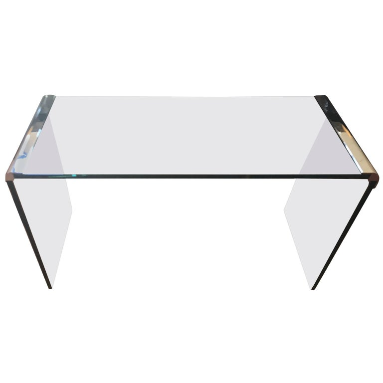 Glass And Chrome Waterfall Pace Collection Console Table For Sale At 1stdibs