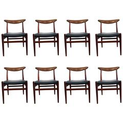 Eight Dining Chairs by Hans Wegner for C.M. Madsens, Teak and Blue Leather