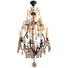 French Bronze Ten-Light Rock Crystal Bird Cage Bagues Patina Chandelier