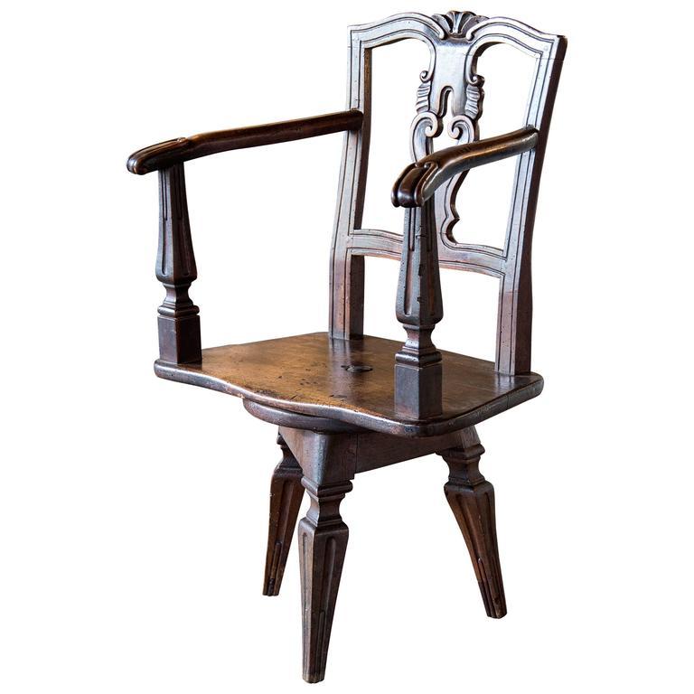 Unusual Eastern European Swivel Chair on Three Leg Base For Sale