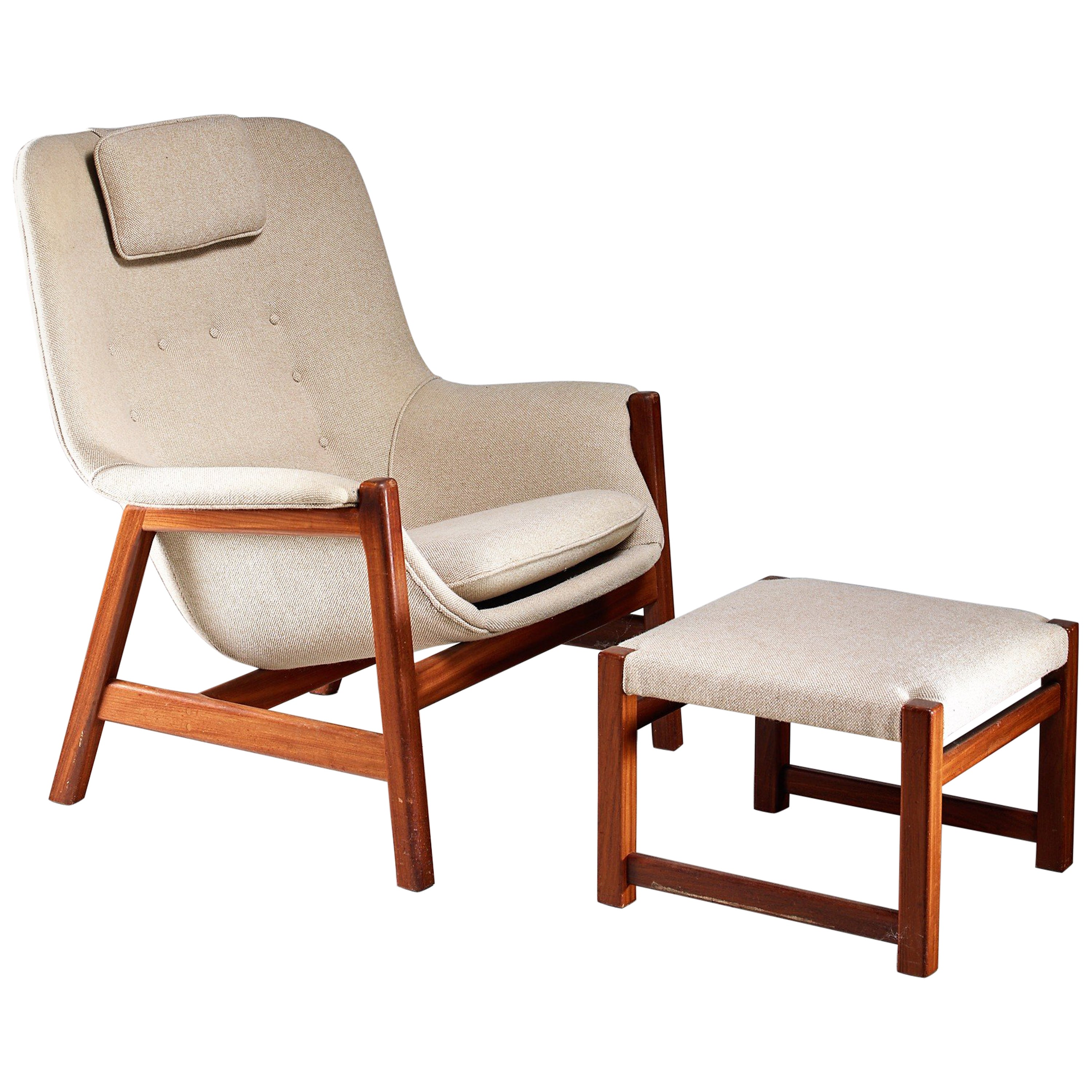 Carl-Gustav Hiort af Ornäs Lounge Chair with Ottoman, Finland, 1950s