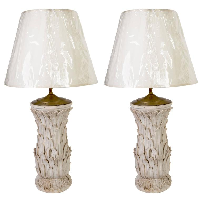 Pair of Composite Stone Lamps