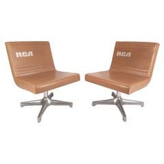 Pair of Mid-Century Modern Vinyl Slipper Chairs