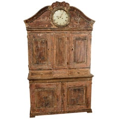 Rare Painted and Scraped Faux Grain Gustavian Clock Cabinet