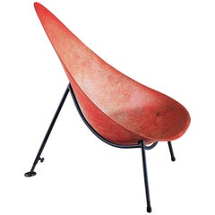 Merat Early French Fiberglass Easy Chair in Red, 1950s