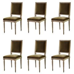 Set of Six Late 19th Century Dining Chairs in the Louis XVI Style