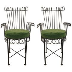 Pair of Wire Chairs Attributed to Salterini