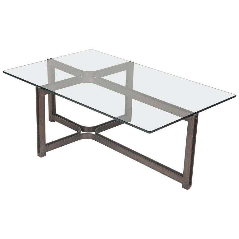 Bronze and Rosewood Coffee Table Designed by Roger Sprunger for Dunbar