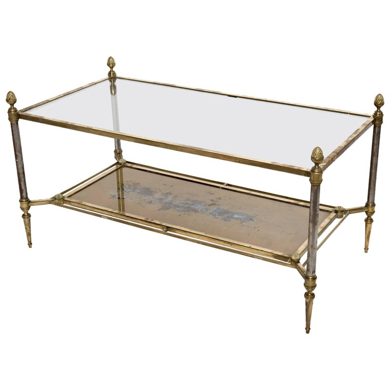 Rectangular Brass-Plated Steel Coffee Table For Sale