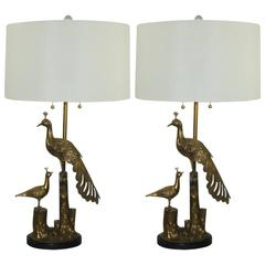Brass Peacock Table Lamps by Marbro