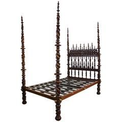 Portuguese Carved and Turned Bed Comprising 17th Century Elements