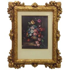 20th Century Painting in Giltwood Frame with Front Glass