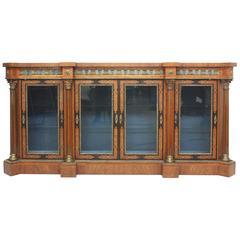 English Burled Walnut Credenza or Display Cabinet