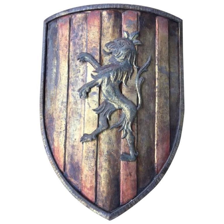 France Heraldic Metal Sconce Shield For Sale