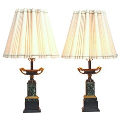 Mid-19th Century Pair of Grand Tour Bronze Tazas as Lamps