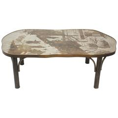 Mid-Century Mixed Metal Coffee Table by Philip and Kelvin La Verne