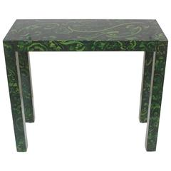 Faux Malachite Parsons Console Table