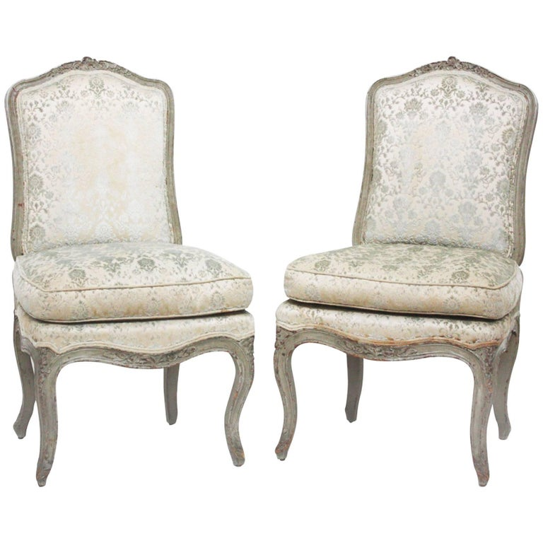 Pair of Period Louis XV Slipper Chairs with Cut Velvet Damask For Sale