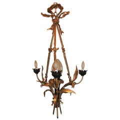 Wonderful French Doré Patina Bronze Bow Neoclassical Crystal Shade Chandelier