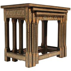 Antique Moorish Marquetry Inlay Nesting Tables