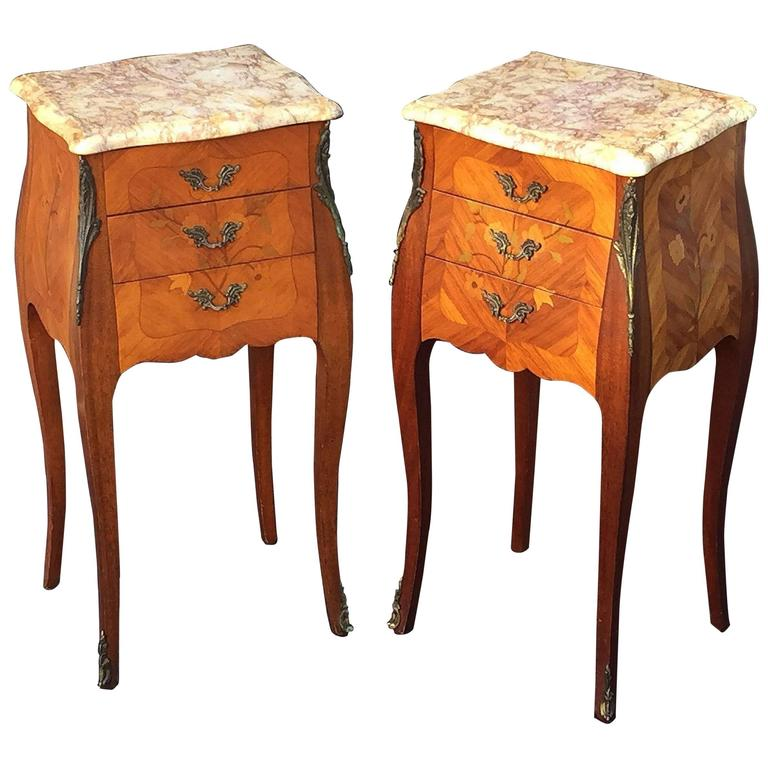 Pair of french inlaid nightstands or bedside tables for for French nightstand bedside table