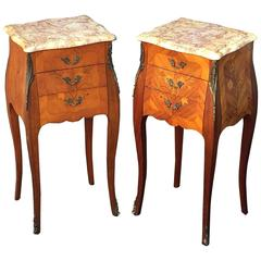 Pair of French Inlaid Nightstands or Bedside Tables