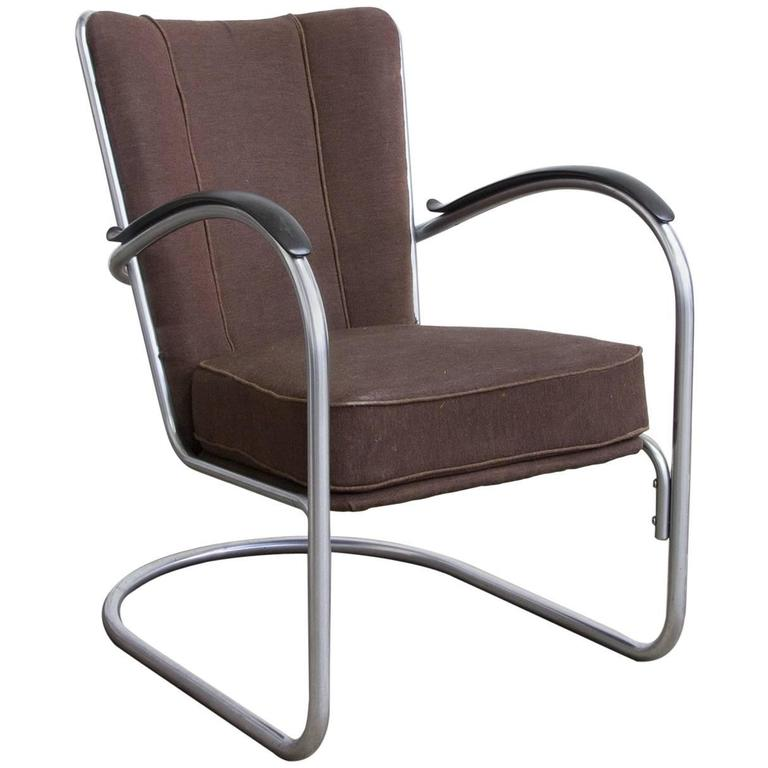 1932, W.H. Gispen for Gispen, 412 Easy Chair in It's Original Fabric