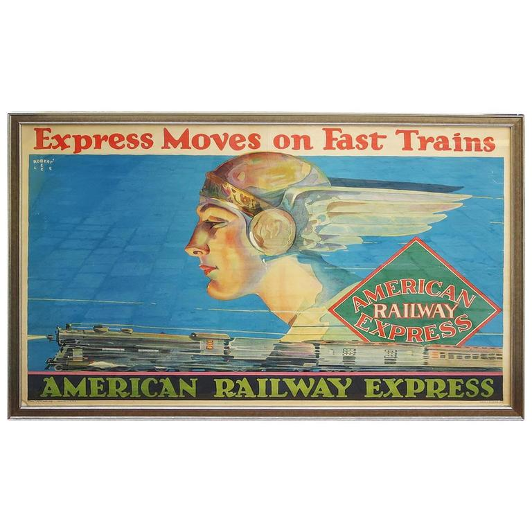 Framed American Railway Express Art Deco Train Travel Poster 1
