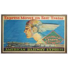 Framed American Railway Express Art Deco Train Travel Poster