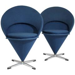 1960s Verner Panton Cone Chairs, Denmark with Original Fabric