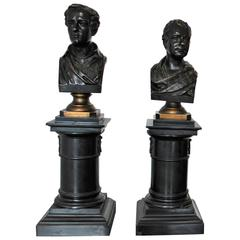 Pair of Bronze Busts on Marble Columns of Sir Walter Scott and Lord Byron