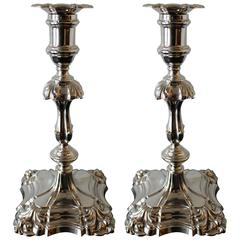 Pair of Edwardian English Sterling Silver Candlesticks by Hawksworth, Eyre & Co.