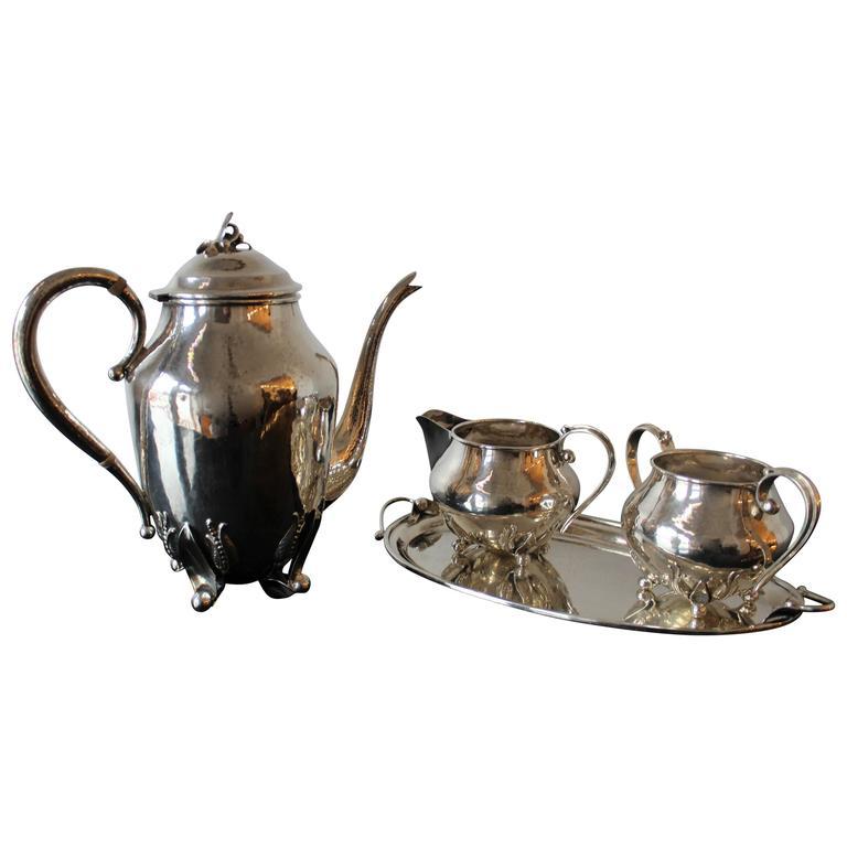 Carl Poul Petersen Sterling Silver Tea Set