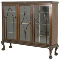 Antique Scottish Three-Door Chippendale Mahogany Bookcase, Display Case