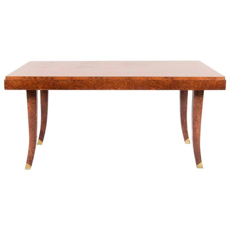 Art Deco French Amboyna Dining Table