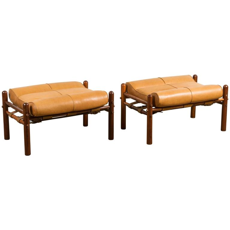 "Pair of ""Inca"" Easy Chair Footstools by Arne Norell 1"