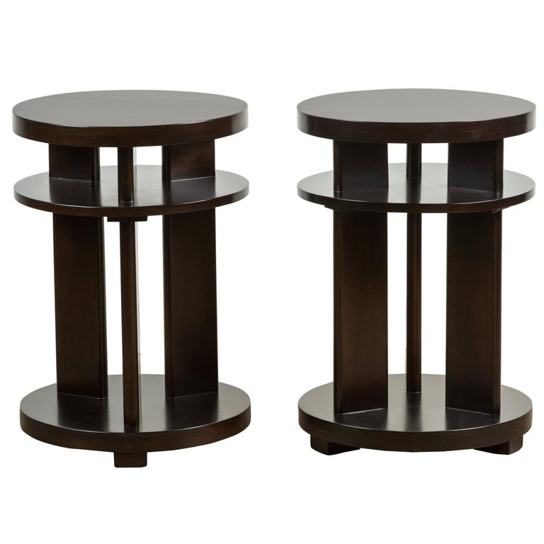 Pair of 1940s Mahogany Side Tables 1
