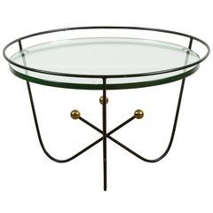 Italian Mid-Century Iron and Brass Cocktail Table