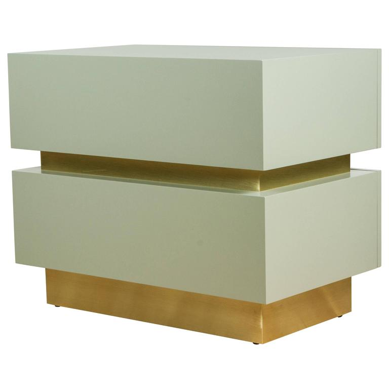 Stacked Box Nightstand with Brass by Lawson-Fenning For Sale