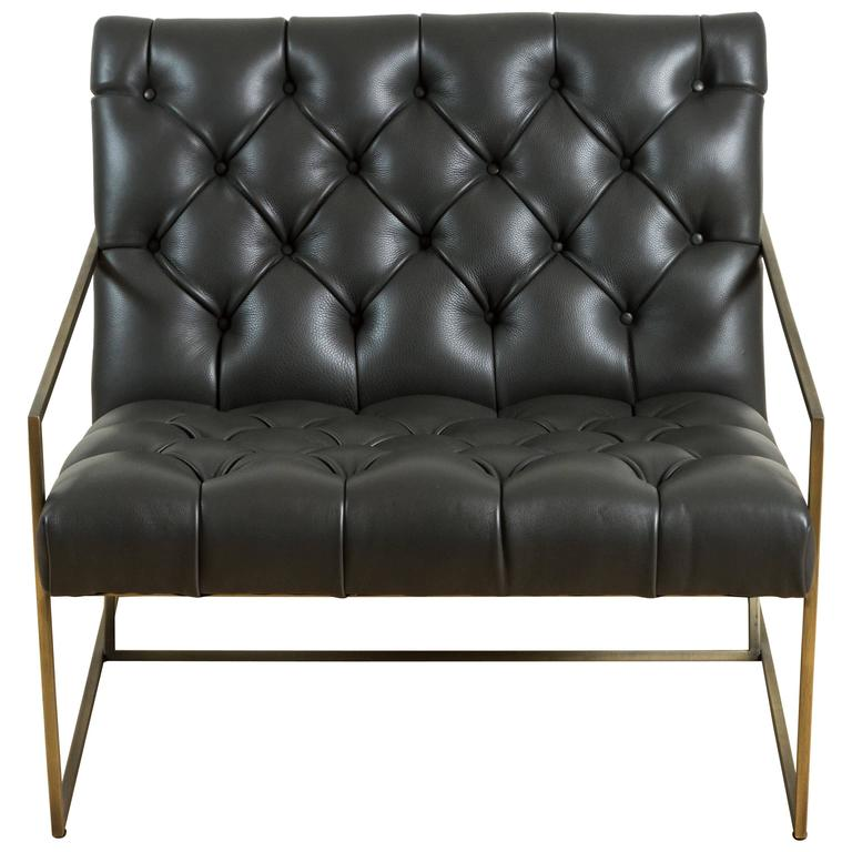 Thin Frame Lounge Chair in Diamond Tufted Charcoal Leather by Lawson-Fenning 1