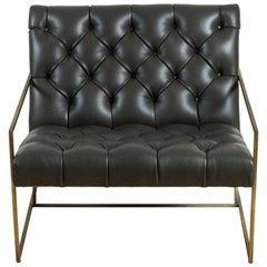 Thin Frame Lounge Chair in Diamond Tufted Charcoal Leather by Lawson-Fenning
