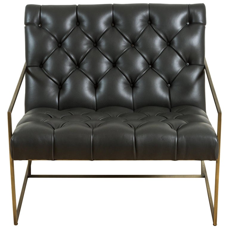 Thin Frame Lounge Chair in Diamond Tufted Charcoal Leather by Lawson-Fenning For Sale